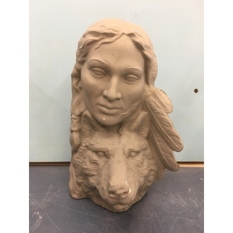 Indian Woman Wolf Bust (IND-45)